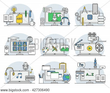 Online Professions With Learning Platform And Computer Interface Display Line Vector Set