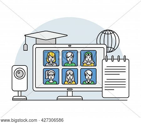 Online Profession With Learning Platform And Computer Interface Display Line Vector Illustration