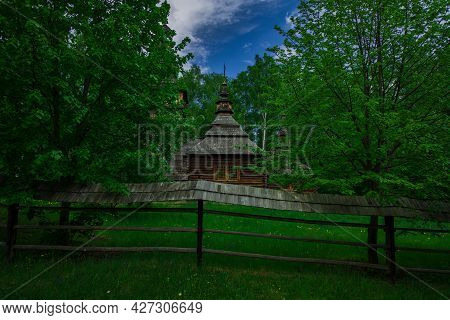 Ancient Wooden Church In Country Side Forest Edge Picturesque Natural Place Surrounded By Palisade A