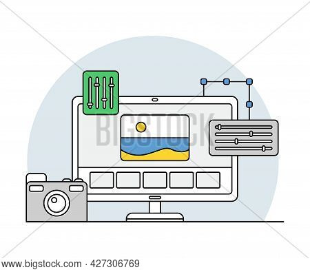Online Profession With Learning Platform For Video Editor And Computer Interface Display Line Vector