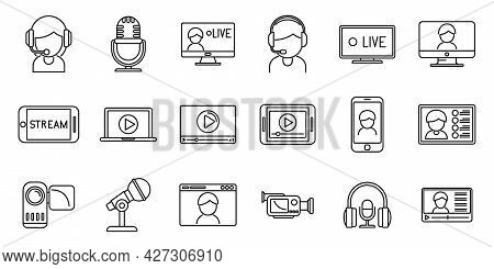 Live Streaming Icons Set Outline Vector. Video Stream. Movie Watch