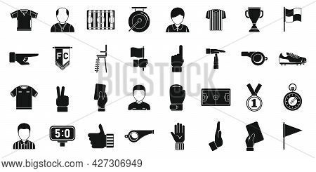 Soccer Referee Icons Set Simple Vector. Football Match. Referee Whistle