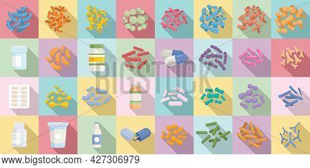 Probiotics Icons Set Flat Vector. Stomach Prebiotic. Bacteria Lactobaccilus
