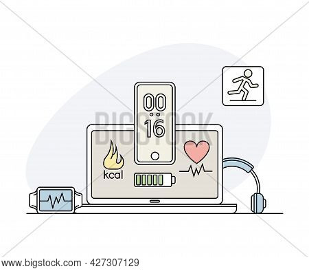 Online Sport And Physical Exercise With Laptop Screen And Mobile App For Calorie Calculation Line Ve