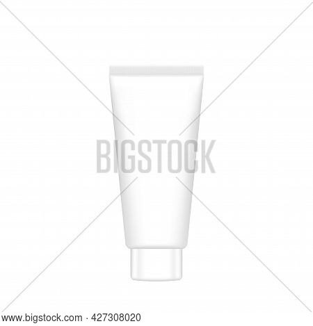 Mock-up Cosmetic Tube, Bottle Packaging On Table Top For Banner Design, Packaging Tube Plastic Lotio