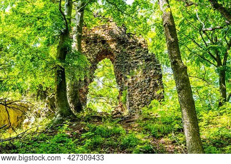 Stone Gate In The Forest. Bradlec Castle Ruins In Bohemian Paradise, Czech Republic