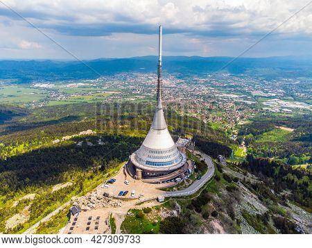 Liberec, Czech Republic - June 02, 2021: Jested Mountain Hotel And Tv Transmitter Above Liberec, Cze
