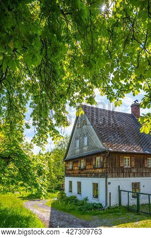 Old Medieval Mill In Rural Nature Country. Czech Rustic Architecture.