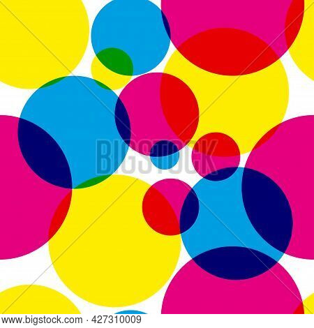 Seamless Pattern With Circles With Cmy And Rgb Colors. Background With Round Geometric Shapes. Eleme