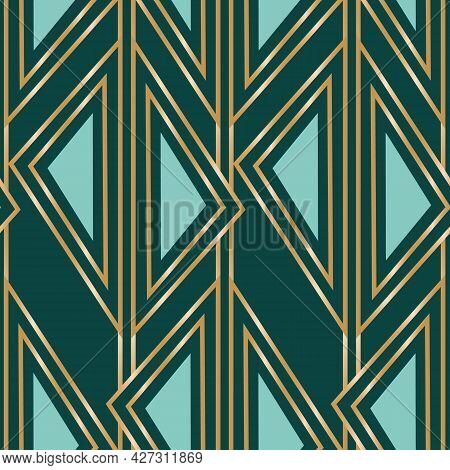 Vector Golden Geometric Art Deco Seamless Pattern