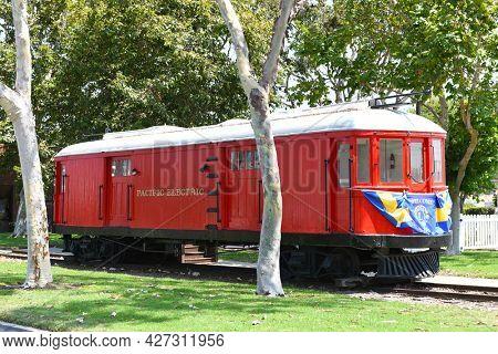 SEAL BEACH, CALIFORNIA - 16 jul 2021: Pacific Electric Red Car Museum in Electric Avenue Meridian Park.