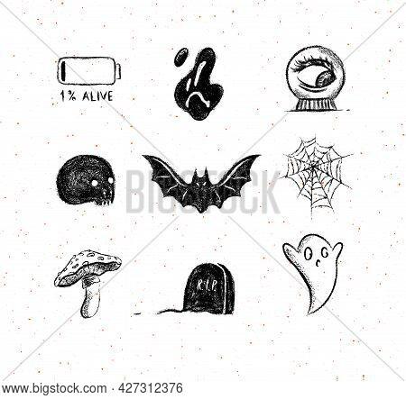Halloween Scary Collection Ghost, Bat, Spider, Battery, Skull, Spirit Ball, Mushroom, Headstone Elem