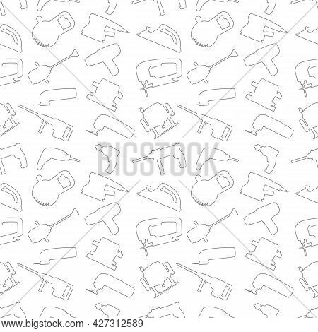 Vector Seamless Repeating Pattern And Background With Industrial Power Tools Icons. For Website Back