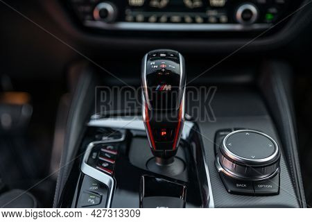 Ukraine, Odessa - July 8, 2021: Bmw M5 Competition Pack With Aluminum Inserts. Automatic Gear Stick