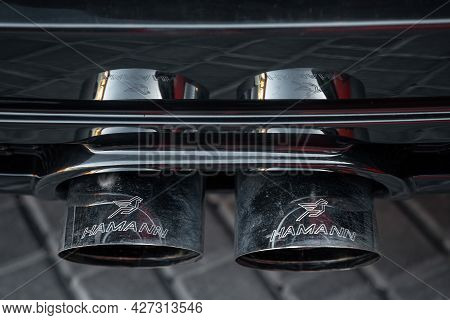 Ukraine, Odessa July 8 - 2021: Close Up Of Car Exhaust Pipe Modified By Hamann. Exhaust Pipe Of A Lu