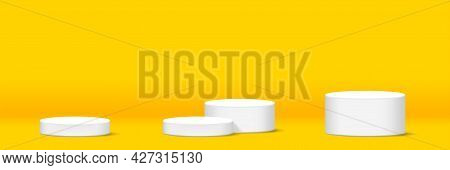 Cylinder Podium For Make-up Product Display, Yellow Background, Podium Stage Showcase For Advertisin