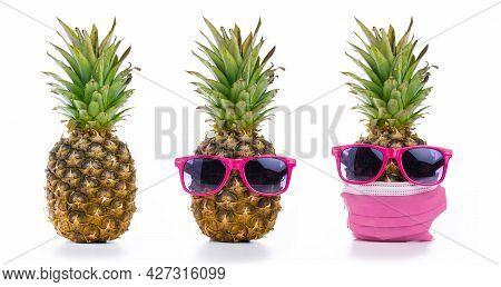 Series Of Pineapples. Pineapple Ordinary, Pineapple In Sunglasses And Pineapple In Sunglasses With F