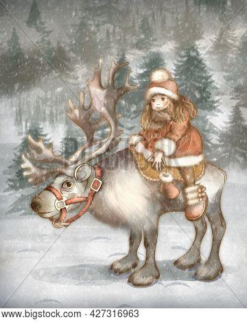 Children's Cartoon Illustration. Fairy Tale Snow Queen. Little Girl Gerda On A Reindeer Is Looking F