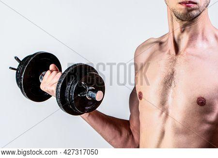 Weak Man Lift A Weight, Dumbbells, Biceps, Muscle, Fitness. Nerd Maleraising A Dumbbell. Man Holding