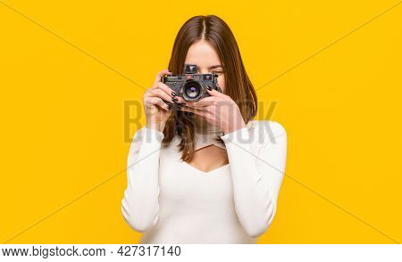 Photographer Camera Photo, Photographing Girl Joy Make Photography Taking Concept. Girl With A Camer