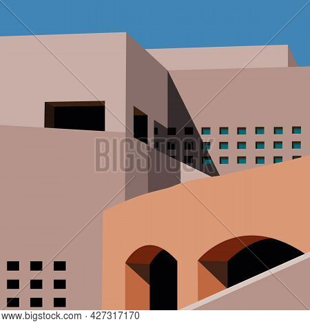 Architecture Abstract. Minimal Architectural Buildings. Minimal City Landscape Flat Style. Mid Centu