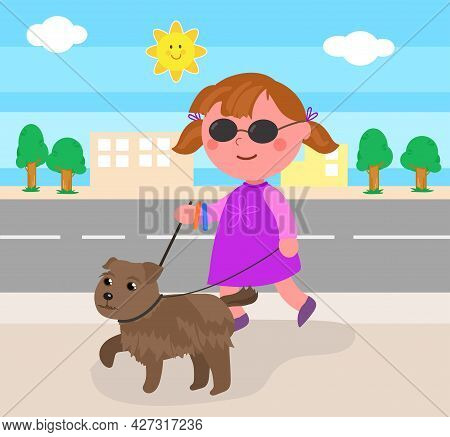 Blind Child Walking In The Street With Her Guide-dog, Cartoon Vector Illustration Isolated On White.