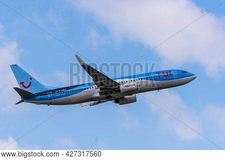 Dusseldorf, North Rhine Westphalia, Germany 04 15 2021: Departure Of Tuifly Boeing B737-800, Blue Pl
