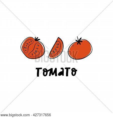Slice, Half, Whole Tomato Isolated On White Background.