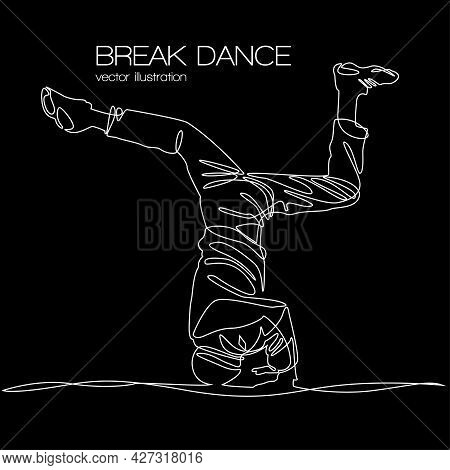 Break Dancer Spin Head Silhouette Continuous Line Vector Illustration Isolated