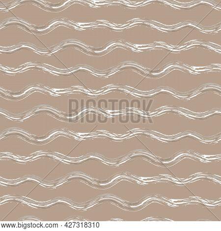 Hand Drawn Strands Of Wavy Broken Stripes.seamless Vector Pattern With Horizontal Irregular Fibre St