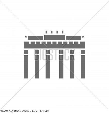 Brandenburg Gate, Landmark Of Berlin, German Grey Icon.