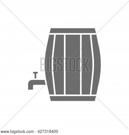 Barrel Of Beer, Barrel With Tap, Alcohol Grey Icon.