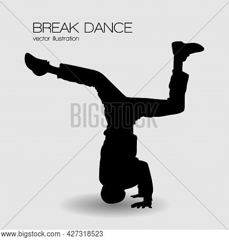 Break Dancer Spin Head Silhouette Vector Illustration Isolated