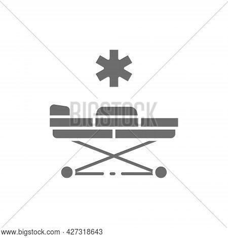 Emergency Stretcher Trolley Grey Icon. Isolated On White Background