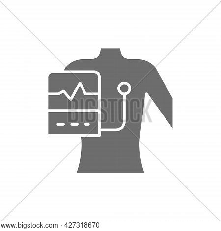 People With A Cardiogram, Heart Pacemaker Grey Icon.