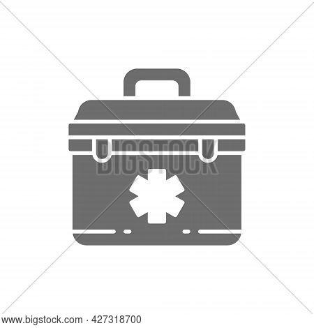 First Aid Kit, Paramedic Bag Grey Icon.