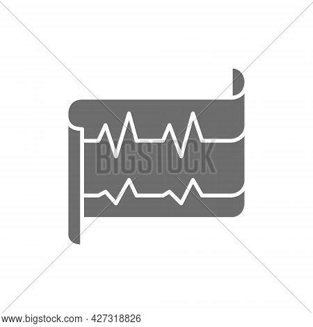 Heartbeat, Ecg, Electrocardiogram Grey Icon. Isolated On White Background