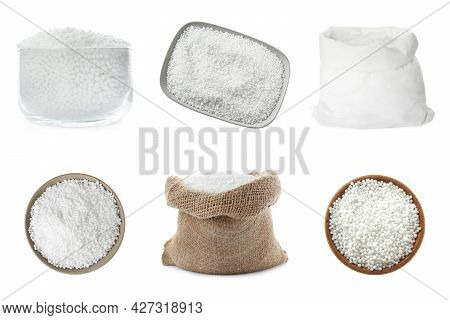 Set With Ammonium Nitrate Pellets On White Background. Mineral Fertilizer