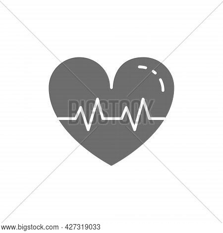 Healthy Heartbeat Grey Icon. Isolated On White Background