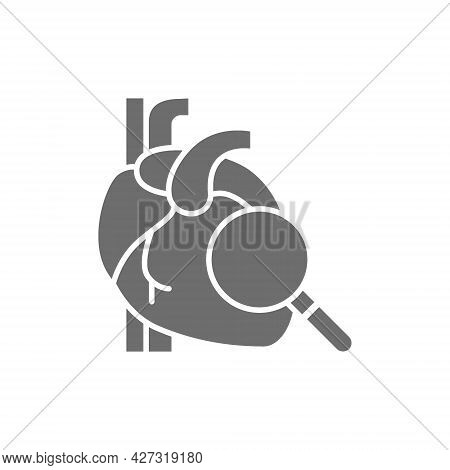 Loupe With Heart, Heart Check Grey Icon.