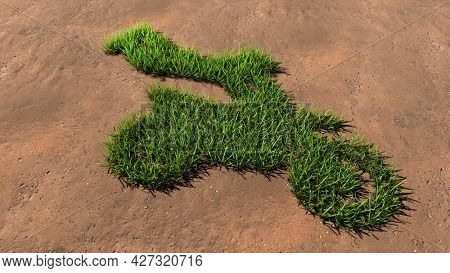 Concept or conceptual green summer lawn grass symbol shape on brown soil or earth background, sign of a stuntman on a motorcycle. 3d illustration metaphor for sport, adrenaline, extreme danger and fun
