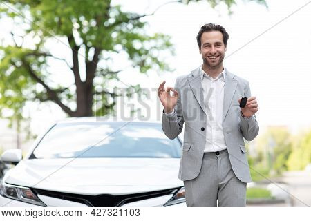 Great Choice, Salesman Giving Car Key To Customer, Expert Advice On Renting And Buying Auto.