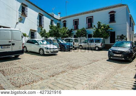 Carmona Spain July 18, 2021 Cars Parked In The Streets Of Carmona, An Emblematic City And The Capita