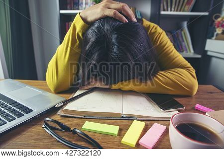 Stressed Businesswoman,frustrated And Upset In Business Pressure And Overworked At Office. Adult Asi