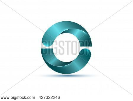 3d Logo, Glossy Bio Design With Light Blue Semi Circles. Ecologic Round, Alphabet, Impossible Letter