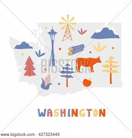 Usa Map Collection. State Symbols And Nature On Gray State Silhouette - Washington. Cartoon Simple S