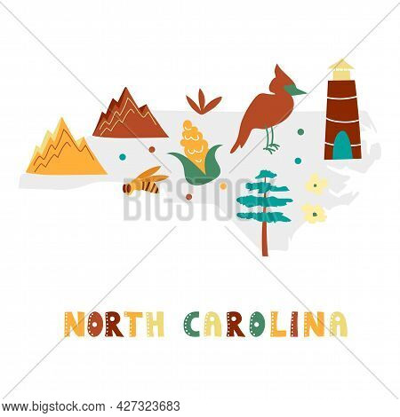 Usa Map Collection. State Symbols And Nature On Gray State Silhouette - North Carolina. Cartoon Simp