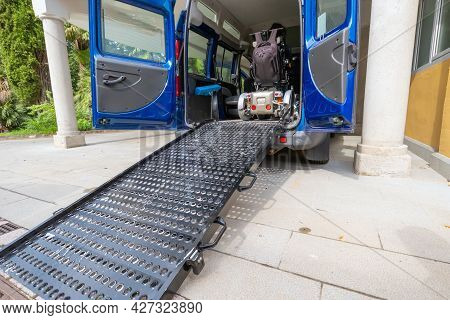Transport For Disabled Persons On Wheelchair. Accessible Car With Lift Ramp.