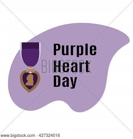 Purple Heart Day, Schematic Illustration Of An Award Vector Illustration