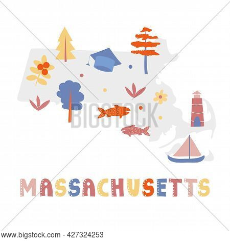 Usa Map Collection. State Symbols And Nature On Gray State Silhouette - Massachusetts. Cartoon Simpl